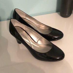 Size 7 1/2 vegan patent leather pumps.